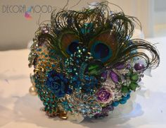 Custom Peacock Feather Themed Brooch Bouquet Curled by DecoraMood, $200.00