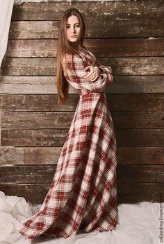 Купить Длинное платье в клетку из хлопка - в клеточку, длинное платье, платье в…