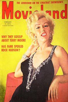 1954 February issue: Movieland magazine cover, Marilyn Monroe .... #marilynmonroe #normajeane #vintagemagazine #pinup #icon #iconic #1950s #raremagazine #magazinecover #Movieland