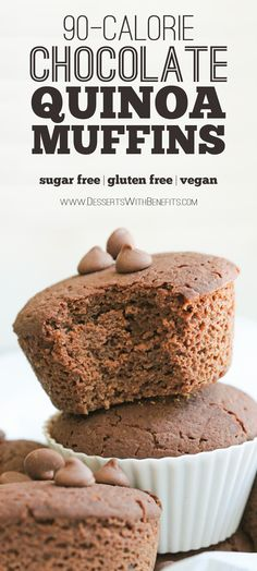 These Healthy Bittersweet Chocolate Quinoa Muffins are super light and fluffy, like cupcakes, but hearty and filling, like muffins. Not overly sweet or heavy, so they're the perfect thing for breakfast first thing in the morning along with a cup of coffee. It's hard to believe these muffins are low calorie, low fat, sugar free, gluten free, AND vegan!
