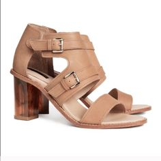 """HM all leather sheer heels scandals All leather. Wore once. The heels are sheer. Super chic and unique. They are also very comfy. Heels: 3"""" around H&M Shoes Sandals"""