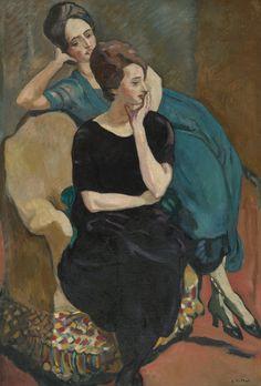 louis valtat(1869-1952), les deux soeurs assises, madame zette et madame juin, c. 1917. oil on canvas, 129.8 x 81.2 cm. sotheby's