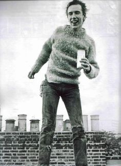 The Sex Pistols' Johnny Rotten on a West London rooftop in 1976 in Vivienne Westwood Sex and Seditionary mohair jumper