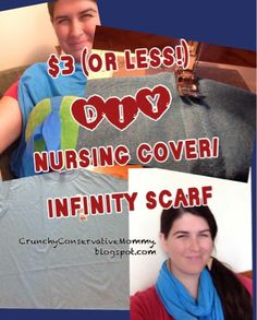 Crunchy Con Mommy: $3 DIY Nursing Infinity Scarf with supplies from Michael's!