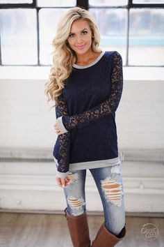 Grace In Lace Top - Navy