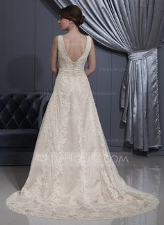 A-Line/Princess V-neck Court Train Satin Tulle Wedding Dress With Lace Beading (002012770)