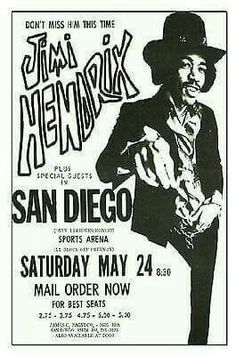 New reproduction poster of Jimi Hendrix at the San Diego sports arena It is printed on x heavy card stock. Looks great tacked up or framed. Set list from this Jimi Hendrix and The E Jimi Hendrix Experience, Tour Posters, Band Posters, Pop Rock, Rock N Roll, Affiche Jimi Hendrix, Arte Hippy, Rock Vintage, Jimi Hendricks