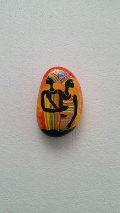 african women theme hand painted stone
