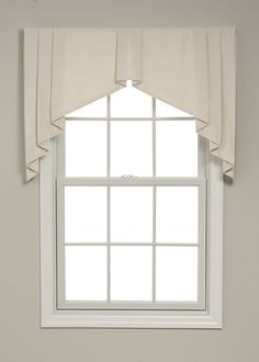 Box pleated tapered valances have tailored pleats and tapering sides that soften the window frame. Window Cornices, Valance Window Treatments, Window Coverings, Curtains And Draperies, Window Curtains, Valances, Drapery, Lace Window, Country Curtains