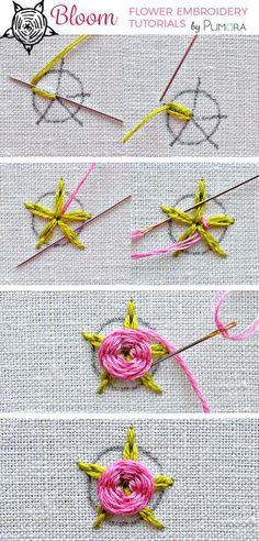 flower embroidery tutorial - woven rose with chain stitch leaves