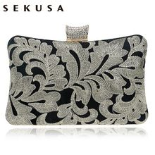 Embroidery Diamonds Women Messenger Bags Vintage Handmade Golden Silver Color Day Clutches Evening Bags For Wedding