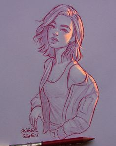 Illustration This illustrator creates extraordinary lighting effects on his drawings - Shopping For Girl Drawing Sketches, Pencil Art Drawings, Cute Drawings, Outline Drawings, Drawing Ideas, Drawing Tips, Pencil Sketching, Pencil Drawing Tutorials, Portrait Sketches
