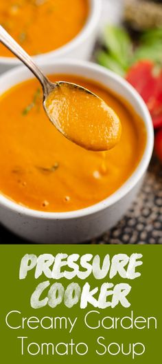 Pressure Cooker Creamy Garden Tomato Soup is a delicious recipe made in your Instant Pot with ripe tomatoes from the garden along with Parmesan, balsamic vinegar and pesto for amazing flavor! Best Soup Recipes, Vegetarian Recipes, Healthy Recipes, Fall Recipes, Healthy Food, Instant Pot Pressure Cooker, Pressure Cooker Recipes, Pesto, Tomato Bisque Soup