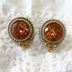 Amber Faceted Earrings, Silver Gold Pierced, French Clips, Designer Inspired, Classic Elegance #vintage #vintagevoguetreasure #earrings