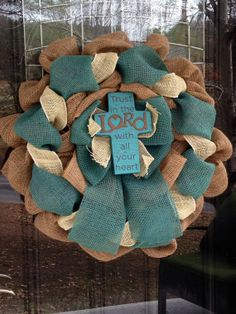 Teal and Cream Burlap Wreath with Cross - Faith Jesus Spring Easter www.etsy.com/shop/SimplyBlessedGift