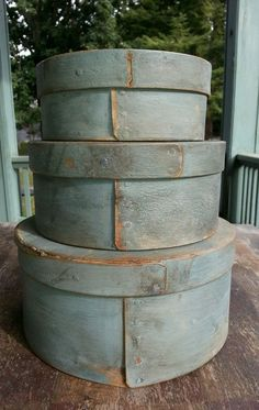 7.75in wide x 3.75in tall (bottom box) Antique Wooden Round Pantry Box Stack of Three Fabulous Dry Blue Paint Sold $408.00 Ebay Oct 04, 2015