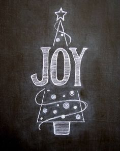 Hand drawn JOY chalkboard art print11 x by TheBlackandWhiteShop