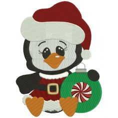 Penguin Witch a Christmas Hat Filled Machine Embroidery Digitized Design Pattern #christmas #embroidery #applique #witch