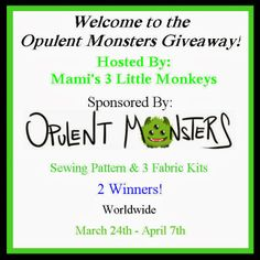Enter to #win a Sewing Pattern of your choice & 3 Fabric Kits from Opulent Monsters! #Monsterbunz #giveaway WW 4/7