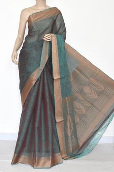 Sea Green Dhoop-Chhaon South Cotton Handloom Saree (With Blouse) 17079 Kora Silk Sarees, Indian Silk Sarees, Indian Sarees Online, Handloom Saree, Saree Blouse Neck Designs, Blouse Designs, Sarees For Girls, Drape Sarees, Bridal Silk Saree