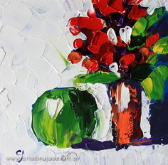 6x6 painting  Floral painting small original by cristinajaco