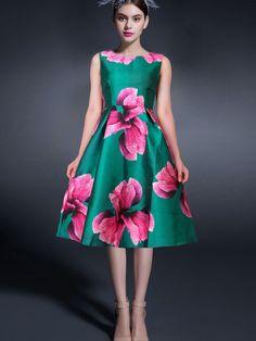 Sleeveless Florals Flare Dress 24.67