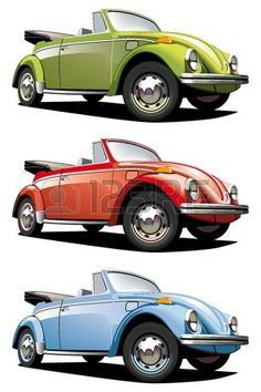 Vectorial icon set of old-fashioned cars (VW Beetle) isolated on white backgrounds. Every car is in separate layers. File contains gradients and blends. photo