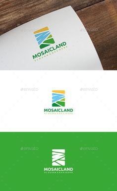 Mosaic Landscape Logo Template Vector EPS, AI Illustrator #adventurelogo #campinglogo #camplogo