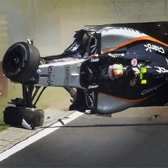 Moment of drama in #FP1 as Sergio Perez rolls his @saharaforceindiaf1 car - and walks away unscathed #Formula1 #F1 #HungarianGP #SergioPerez #ForceIndia #Hungaroring by f1