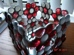 Red & White Flower Candle Holder or Decorative Box in Stained Glass Nuggets. via Etsy.