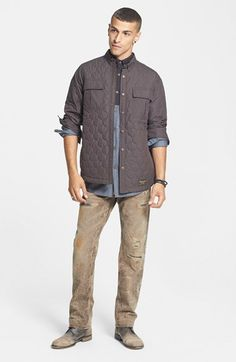 Burton Quilted Shirt Jacket, ZANEROBE Shirt & Hudson Jeans Straight Leg Jeans  available at #Nordstrom