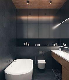 22 Best Black Floor Tile Design Ideas For Your Modern Bathroom - Dlingoo Contemporary Apartment, Contemporary Interior Design, Decor Interior Design, Interior Designing, Eclectic Design, Luxury Interior, Modern Contemporary, Furniture Design, Bathroom Island