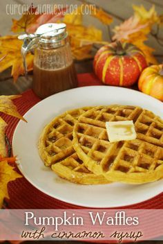 Pumpkin Waffles with Cinnamon Syrup