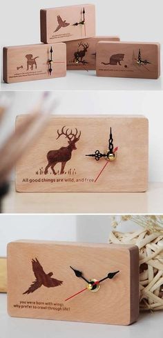 Handmade Wooden Silent Desk Clock