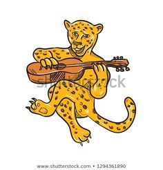 Cartoon style illustration of a happy jaguar or leopard playing an acoustic guitar while being seated or sitting down done in full color on isolated background. Cartoon Styles, Cartoon Art, Happy Cartoon, Guitar Art, Acoustic Guitar, Jaguar Leopard, Playing Guitar, Cat Breeds, Caricature