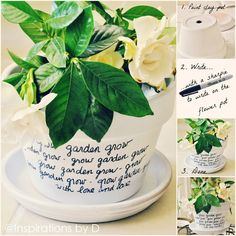 Message Flower Pots - I'd love to grow fresh herbs and label the pots using this awesome and easy idea.