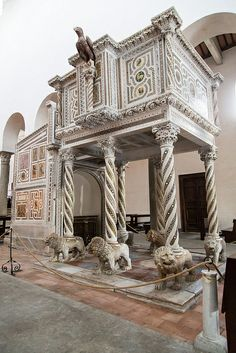 Ravello Duomo pulpit with lions for column bases Ravello, Italy, province of Salerno Campania Amalfi Coast Ravello Italy, Amalfi Coast Italy, Sorrento, Positano, Romanesque Architecture, Best Of Italy, Italian Beauty, Southern Italy, Lake Como