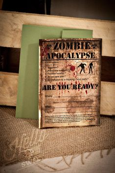Zombie Birthday Party Invitation Printable and Personalised finn