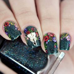 """""""Here is the full nail art, and I must say, I'm totally in love with it! My base is @ilnpbrand Mounting View, everything else is freehand with acrylic…"""""""