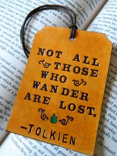 Leather Luggage Tag - Tolkien Quote - LOTR - Green Leaf Swirl Detail. $20.00, via Etsy.