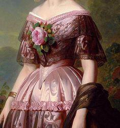 "the-garden-of-delights: ""Portrait of Princess Maria Carolina Augusta of Bourbon"" (detail) by Franz Xaver Winterhalter Old Dresses, Pretty Dresses, Vintage Dresses, Victorian Art, Victorian Fashion, Vintage Fashion, Victorian Paintings, Pin Up, Dress Painting"