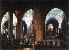 Collatéral, Cathédrale d'Anvers, 1996, Paul Dmoch, (Belgique). Aquarelle.