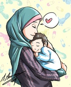 Image muslim couple baby images hosted in Life Trends 1 Muslim Family, Muslim Girls, Muslim Couples, Hijab Anime, Anime Muslim, Image Allah, Cartoon Images, Cute Cartoon, Mother Daughter Art