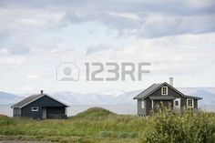 Small wooden houses on sea coast North Sea Norway Stock Photo