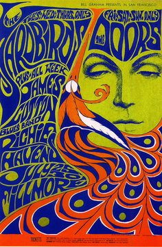 Fillmore art poster by graphic artist Wes Wilson, promoting Bill Graham concert of The Doors, The Yardbirds, and Richie Havens, July 25-30, 1967