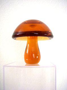 SHROOMS Vintage 70s Amber Glass Mushroom  by OmAgainVintage, $45.00