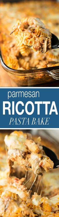 A recipe for a simple and delicious vegetarian parmesan and ricotta pasta bake made with mushrooms, garlic, onion, and two cheeses.