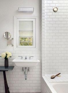 Bathroom: Beautiful White Ceramic Subway Tile Bathroom With Stunning White Bathroom Design Ideas from Beautiful Subway Tile Bathroom House Bathroom, Beveled Subway Tile, Home, Vintage House, Kitchen And Bath, Subway Tiles Bathroom, House Interior, Bathrooms Remodel, Bathroom Design