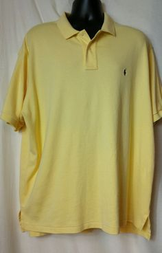 Polo  Ralph Lauren Men's Yellow  Pique Cotton Short Sleeve Polo Shirt Size XXL #PoloRalphLauren #PoloRugby