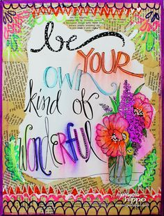 Be Your Own Kind of Wonderful - a Faux Watercolor Mixed Media Plaque by Jennifer Priest with ADORNit Art Play Paintables